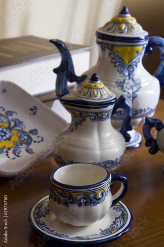 Juego de caf cer mica talavera de la reina espa a for Ceramica talavera madrid