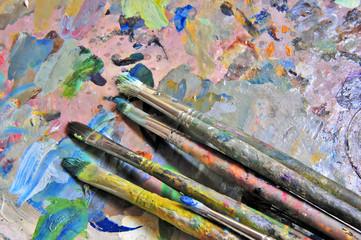 Paleta y pinceles