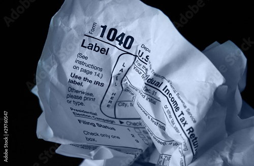 crumpled tax form