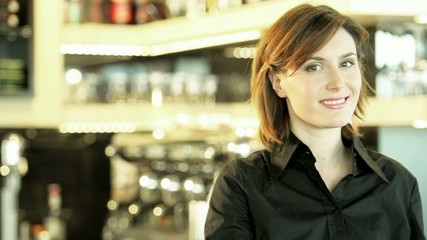 Portrait of a Smiling Female Bar Tender; HD 720, H 264