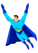Cartoon superhero in flying pose