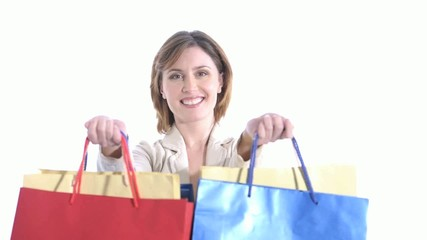 Happy woman with shopping bags; HD 720, H 264