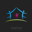 Logo Sweet Home, black background # Vector