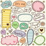 cute doodle cartoon words label