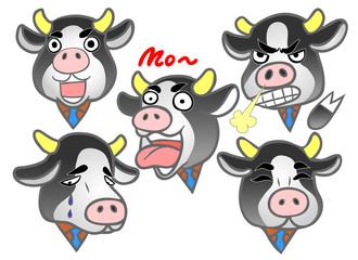 会社員の 牛 喜ぶ悲しむ怒る驚く泣く笑う