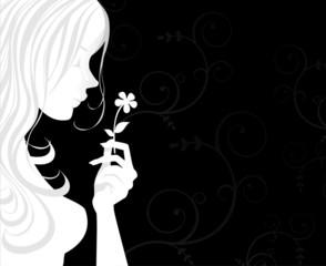 Donna di profilo con fiore