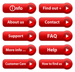 INFORMATION Web Buttons (find out more info about us red vector)