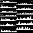 Detailed vector silhouettes of USA biggest cities