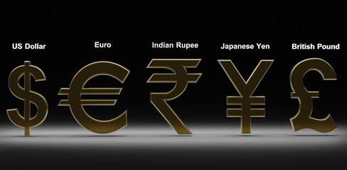 Golden money simbols of the world on black 3d render