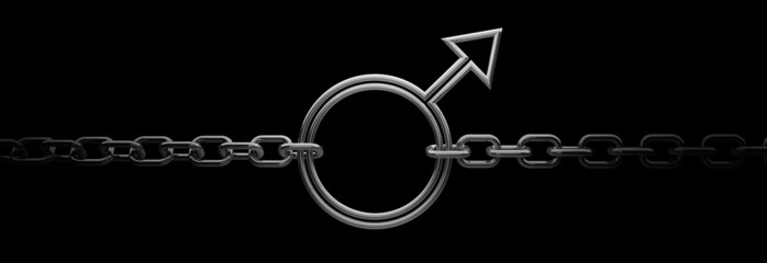 Signs of men with chain on black background 3D