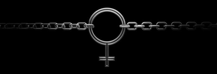 Signs of women with chain on black background 3D