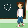 student on the chalkboard with heart symbol