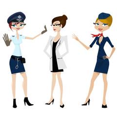 police, doctor, hostess