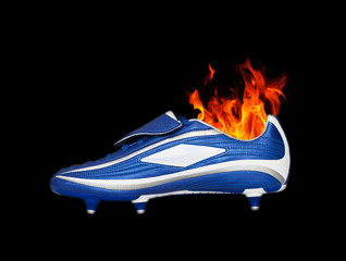 football boot on fire