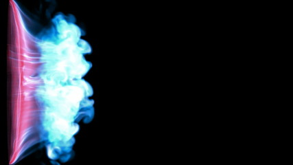 Abstract blue smoke or gas stream, slow motion. Alpha