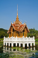 Thai style castle in the middle of pond, Rama 9 National Park,Ba