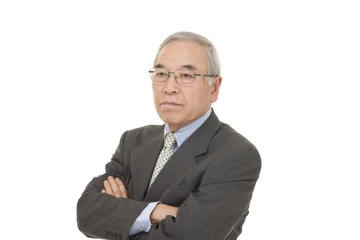 old Japanese male businessman thinking