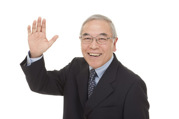 old Japanese male businessman greetings