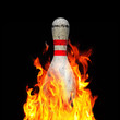 Bowling pin on fire