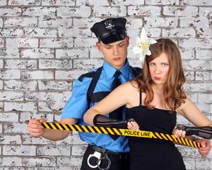 Policeman and girl