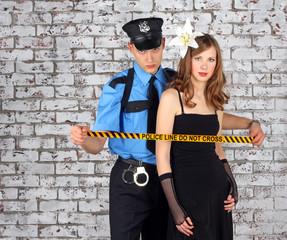 Policeman and girl.