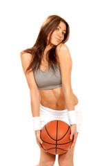 Basketball  sexy young brunette cheerleader woman