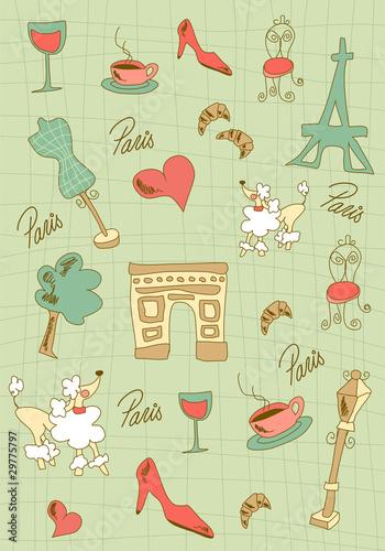 Spoed canvasdoek 2cm dik Doodle Paris icons design.