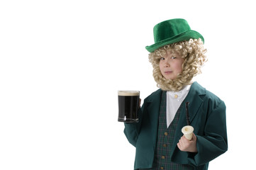 Stout drinking young leprechaun