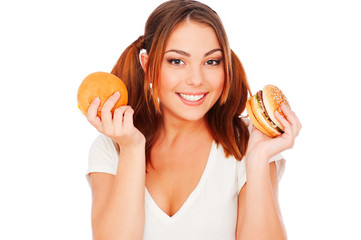 smiley woman with burgers