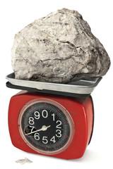 damaged balance with big stone