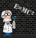 Fototapety Cartoon Scientist equation graffiti on brick wall