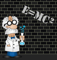 Cartoon Scientist equation graffiti on brick wall