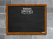 Today's Special's blackboard with block wall background