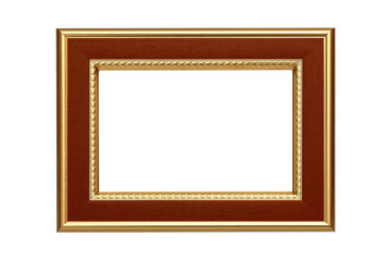 Gold-brown frame isolated on white background