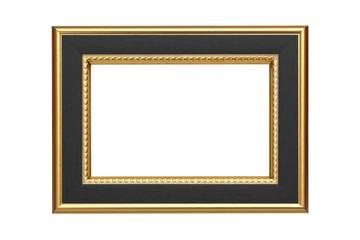 Gold-black frame isolated on white background