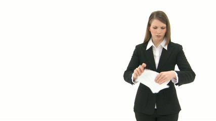 Woman breaks paper