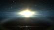 Sun rising over the earth