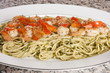grilled shrimp on pasta