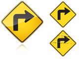 Set of variants Right Sharp turn traffic road sign