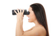 Young woman with binocular