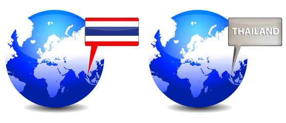 globe with Thailand sign