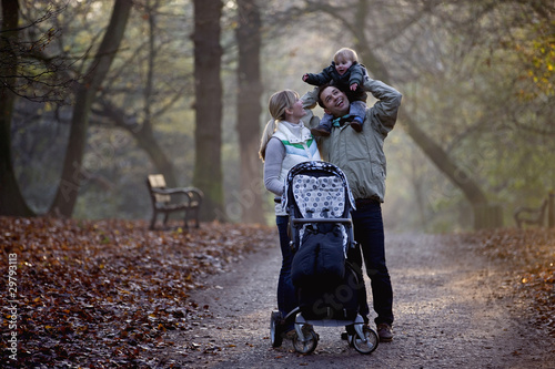 A family standing in the park