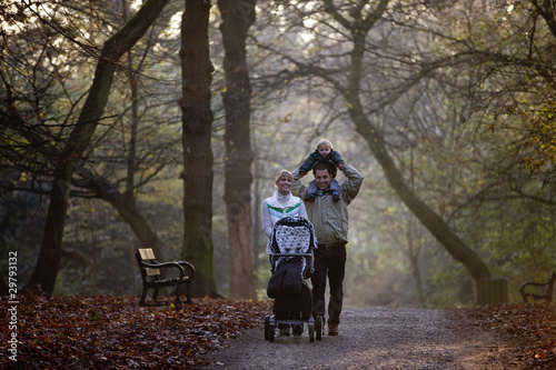A family walking in the park