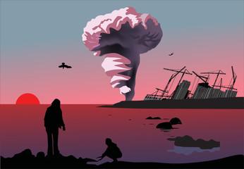 atomic explosion cloud near sea