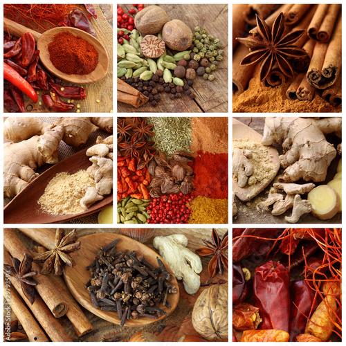 Collage aromatycznych przypraw