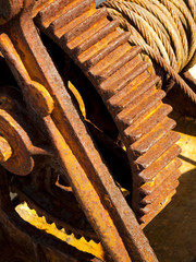 Rusty cable winch