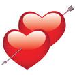 Double coeur transpercé par une flèche