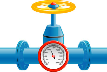Gas pipe valve and pressure gauge
