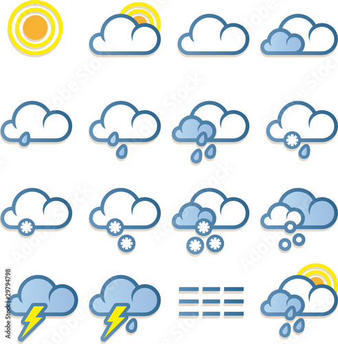 weather forecast icons. Weather forecast icons set on