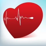 Red glass heart with normal cardiogram. EPS 8 poster
